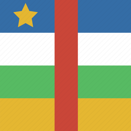 african, central, flag, square icon