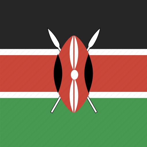 flag, kenya, square icon