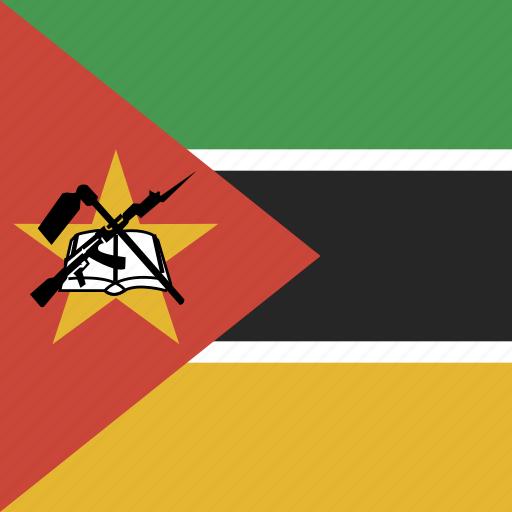 flag, mozambique, square icon