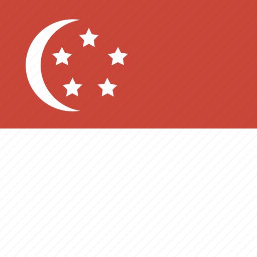 flag, singapore, square icon