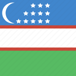 flag, square, uzbekistan icon