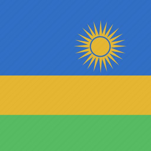 flag, rwanda, square icon