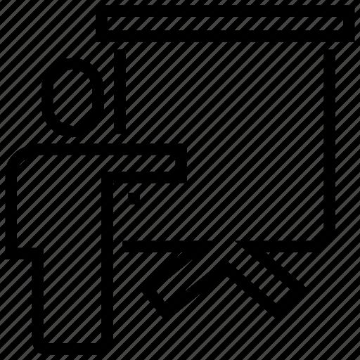 direction, human, man, presentation, right, whiteboard icon