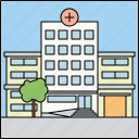 architecture, building, city, facade, health care, hospital, infrastructure icon