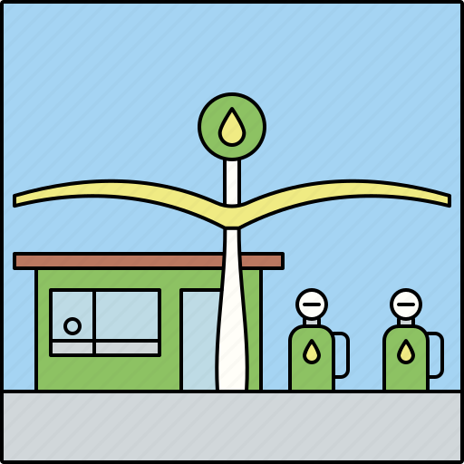 architecture, building, city, gas station, gasoline, infrastructure, transportation icon