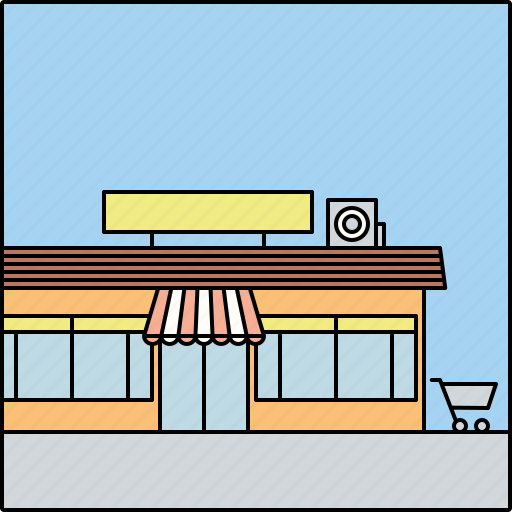 architecture, building, city, infrastructure, store, storefront, supermarket icon