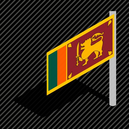 banner, country, flag, isometric, lanka, national, sri icon