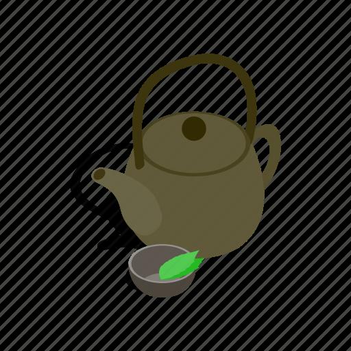asia, drink, green, isometric, organic, tea, teapot icon