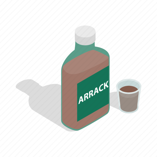 alcohol, anise, arrack, bottle, drink, glass, isometric icon