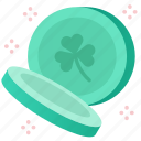 celebration, clover, coins, green, irish, shamrock, st patrick icon
