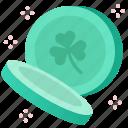 celebration, clover, coins, green, irish, shamrock, st patrick