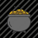 coin, feast, gold, irish pot, leprechaun hat, money, pot of gold icon