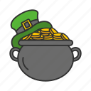 chest, coin, feast, gold, irish pot, leprechaun hat, pot of gold icon