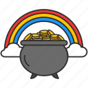 coins, feast, gold, irish pot, leprechaun hat, pot of gold, rainbow icon