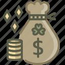 bag, coin, gold, patrick