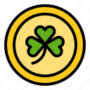 clover, coin, money, saint patrick icon