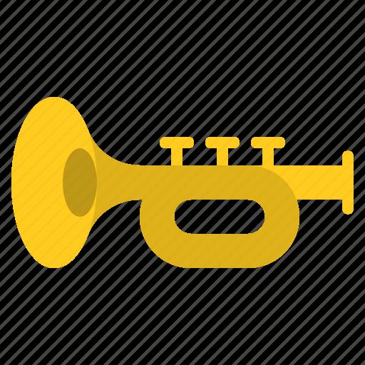 brass instrument, music, musical instrument, trumpet icon