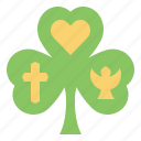 trinity, shamrock, clover, leaf, saint, patricks, day icon