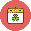 calendar, day, event, festival, patricks, saint, shamrock icon