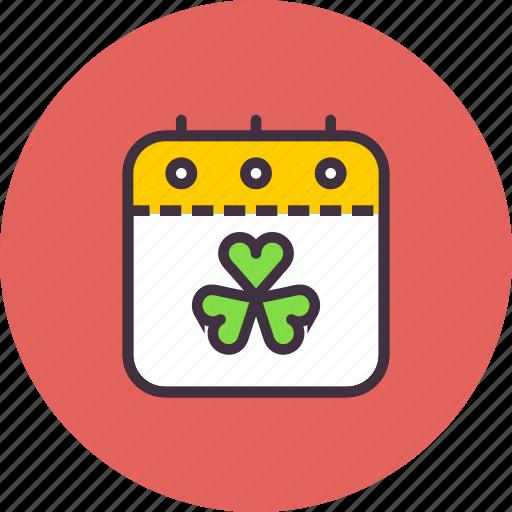 Calendar, day, festival, patricks, saint, shamrock, event icon - Download on Iconfinder