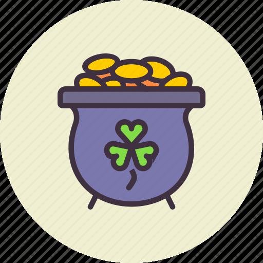 fortune, gold, luck, patricks, pot, saint, treasure icon