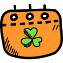 calendar, date, day, festival, patricks, saint, shamrock icon