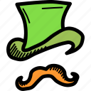 day, hat, irish, leprechaun, moustache, patricks, saint icon