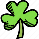 clover, day, leaf, patricks, saint, shamrock, three icon