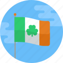 clover, flag, ireland, irish, saint patrick, shamrock, stpatricksday icon