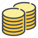 cash, coin, coins, gold, money, of, stack