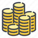 coin, coins, finance, gold, money, of, stack icon