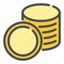 cash, coin, coins, gold, money, of, stack icon