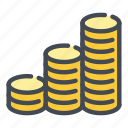 coin, coins, dollar, gold, money, of, stack icon