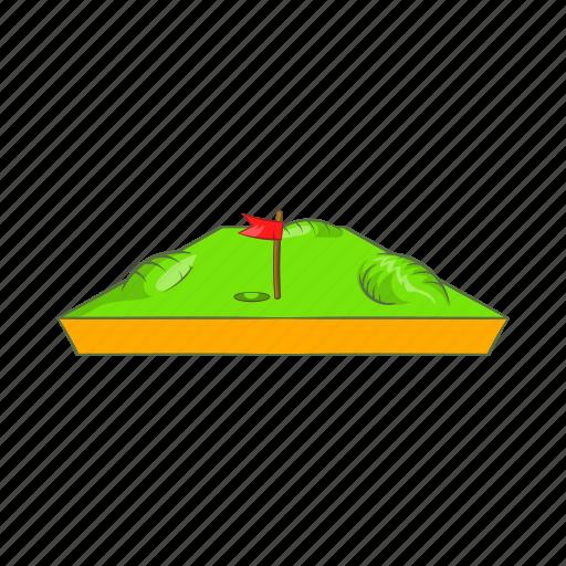 cartoon, course, field, flag, golf, sign, sport icon