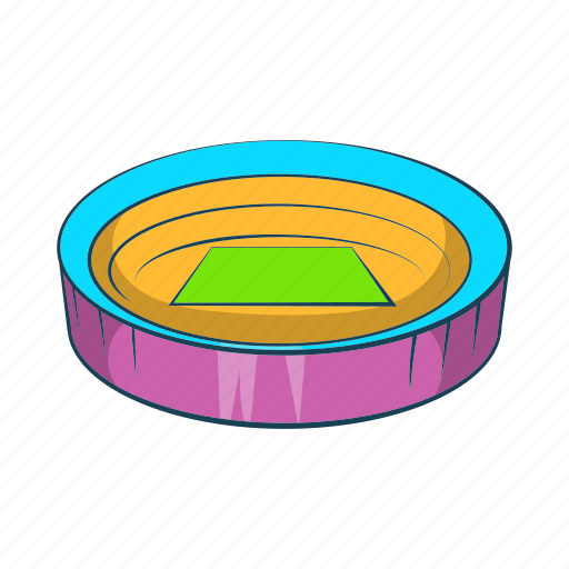 cartoon, field, large, round, sign, sport, stadium icon