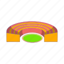 cartoon, field, semicircular, sign, sport, stadium, team icon