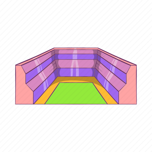 arena, cartoon, field, rectangular, sign, sport, stadium icon