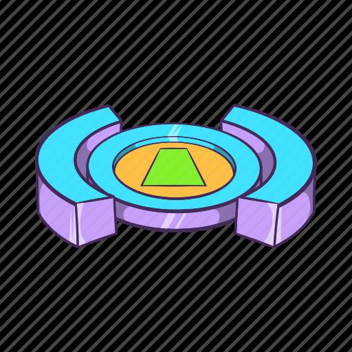 cartoon, field, football, round, sign, soccer, stadium icon