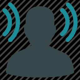 audio, communication, hear, listen, repeater, transmitter, user icon