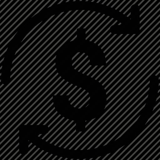 dollar, dollar market value, dollar value, money refresh sign, refresh sign icon