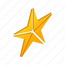award, bright, decoration, gold, isometric, shape, star icon