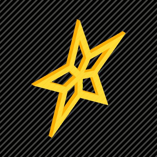 award, bright, decoration, gold, isometric, shape, star icon
