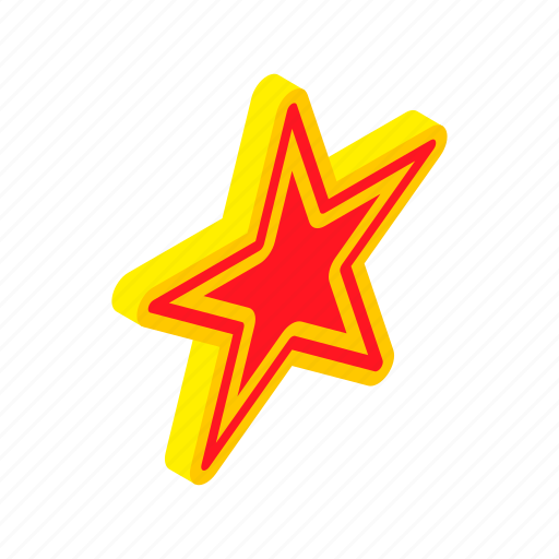 award, bright, element, gold, isometric, red, star icon
