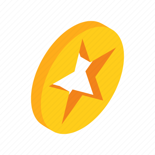 award, bright, circle, gold, isometric, shape, star icon