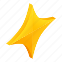 award, bright, circle, gold, isometric, quadrangular, star icon
