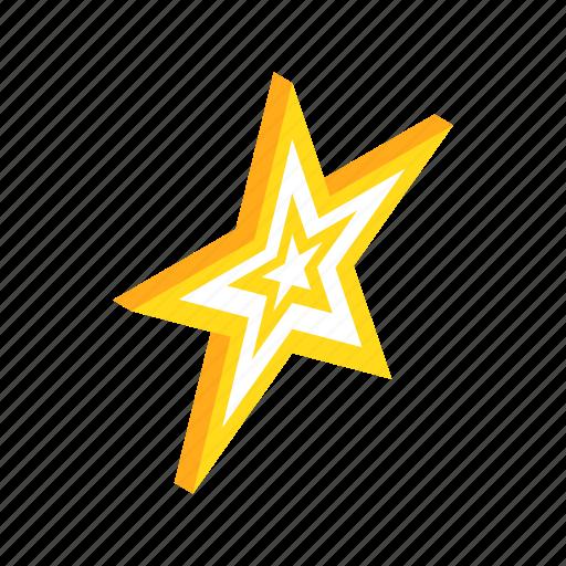 award, bright, element, gold, isometric, shape, star icon