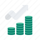 business, coin, finance, increase, start, startup, up icon