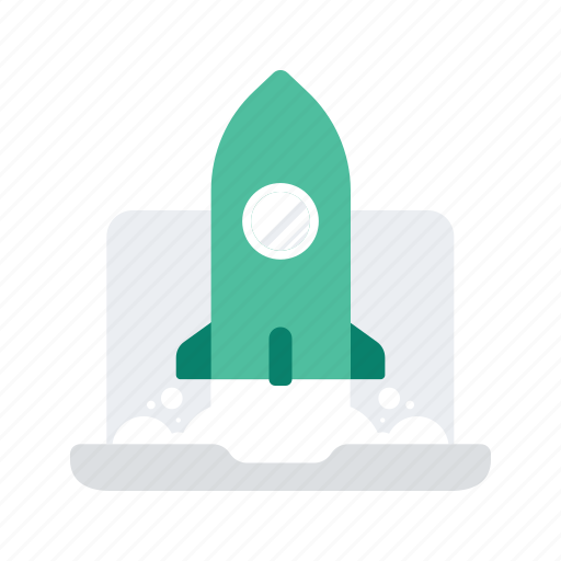application, business, laptop, launch, rocket, start, up icon