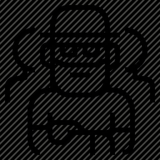 beard, creative, hat, senior, teamwork icon