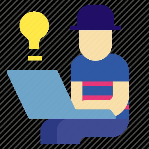casualuniform, hipster, idea, laptop, worker icon